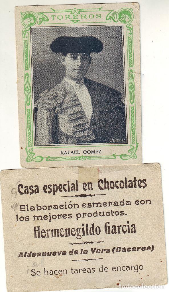 CROMO DE TOREROS RAFAEL GÓMEZ (Coleccionismo - Tauromaquia)
