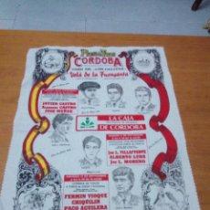 Tauromaquia: CARTEL PAÑUELO TOROS. LA CARLOTA. SEP. 1993. FINITO DE CÓRDOBA CHIQUIN. MANO A M. BBB. Lote 196905903