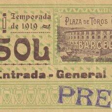 Tauromaquia: ENTRADA / PLAZA DE TOROS ARENAS BARCELONA - TEMPORADA DE 1919 - SOL - ENTRADA GENERAL - PRENSA. Lote 197169772