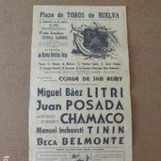 Tauromaquia: CARTEL DE TOROS. PLAZA DE HUELVA. 10-3-1968. TIP. GIRON. 21 X 43 CM. Lote 199278645