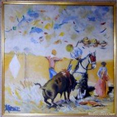 Tauromaquia: ROMERO (CONTEMPORÁNEO).- PICANDO AL TORO -. OLEO SOBRE LIENZO A TODO COLOR. ENMARCADO. FIRMADO.. Lote 31193034