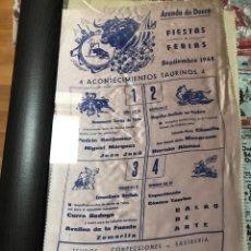 Tauromaquia: CARTEL DE TOROS DE LA FERIA DE ARANDA DE DUERO 1968 EN SEDA. Lote 201788500