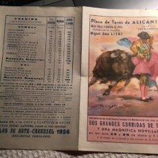 Tauromaquia: ALICANTE, TOROS, JUNIO 1956,REAPARICIÓN EN ESPAÑA DE MIGUEL BAEZ LITRI,HOGUERAS DE SAN JUAN . Lote 202287271