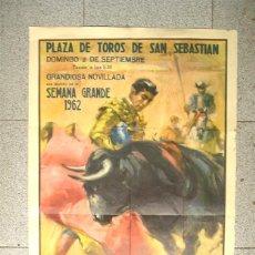 Tauromachie: PLAZA DE TOROS SAN SEBASTIAN SEMANA GRANDE 2 DE SEPTIEMBRE 1962. MED. 54 X 97 CM. Lote 202620790