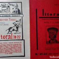 Tauromaquia: LITORAL 21 Y 22 RONDA Y UN TORERO HOMENAJE A ANTONIO ORDOÑEZ 1968. Lote 203629840
