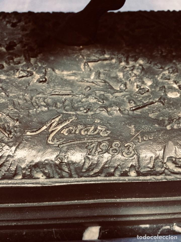 Tauromaquia: bronce tauromaquia toros garrochista caballo sombrero cordobes firma moran 8/100 1983 43x38cms - Foto 21 - 203790133