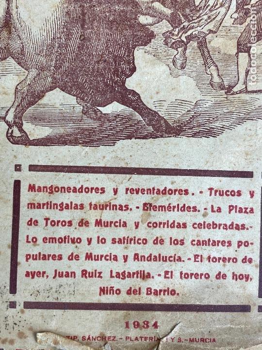 Tauromaquia: MURCIA TOROS TOROS Y CANTARES LÓPEZ PALACIOS AGUSTIN AÑO 1934 - Foto 3 - 204275841