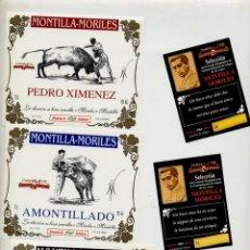 Tauromaquia: 5 ETIQUETAS DE VINO TEMA TAUROMAQUIA -TOROS - ANIVERSARIO MANOLETE - MONTILLA MORILES - FOTO ADIC.. Lote 205582641