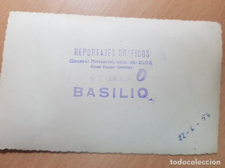Tauromaquia: ANTIGUA FOTOGRAFIA TORERO PLAZA DE TOROS DE ELDA ALICANTE FOTOS BASILIO 1954 - Foto 2 - 209084878