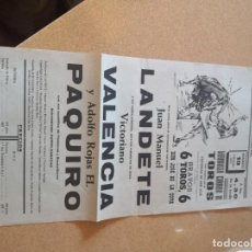 Tauromaquia: CARTEL PLANFLETO FOLLETO PLAZA DE TOROS SANTA CRUZ DE TENERIFE. LANDETE, VALENCIA, PAQUIROAÑO 1971.. Lote 209580221