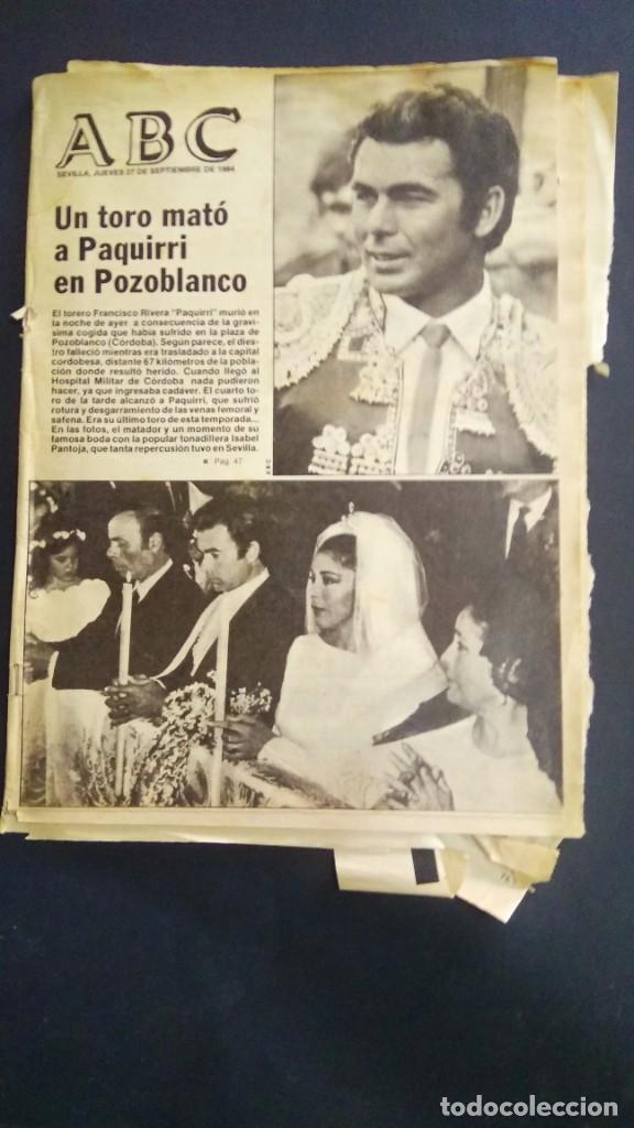 ABC - HISTORICO ABC 27 DE SEP DE 1984- UN TORO MATO A PAQUIRRI EN POZOBLANCO (Coleccionismo - Tauromaquia)