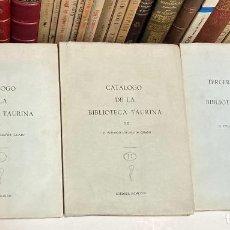 Tauromaquia: CATÁLOGO DE LA BIBLIOTECA TAURINA DE EDUARDO SOTOMAYOR CRIADO - 3 VOLÚMENES CONDE DE COLOMBÍ. Lote 211804288