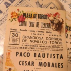 Tauromaquia: CARTEL DE TOROS FOLIO. PLAZA DE TOROS TENERIFE . 1972. PACO BAUTISTA CÉSAR MORALES JUAN ARIAS .. Lote 213671721