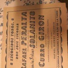 Tauromaquia: PROGRAMA DE MANO CORRIDA DE TOROS DE LA PERALTA SOLANITO GIRON DE 1959. Lote 213672378