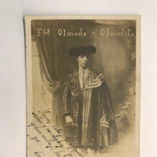 Tauromaquia: TORERO. POSTAL FRANCISCO OLMEDO. OLMEDITO, VINAROZ (A.1920) AUTÓGRAFO. DEDICADA POR EL TORERO. Lote 214054305