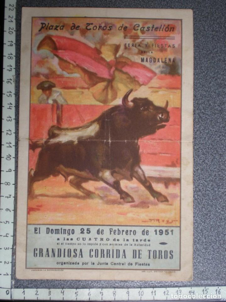 PROGRAMA TAURINO AÑO 1951 PLAZA TOROS CASTELLÓN (Coleccionismo - Tauromaquia)