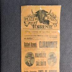 Tauromaquia: TAUROMAQUIA. PLAZA DE TOROS. TORRENTE, VALENCIA (A.1923) FACSIMIL.. ?. Lote 220420036