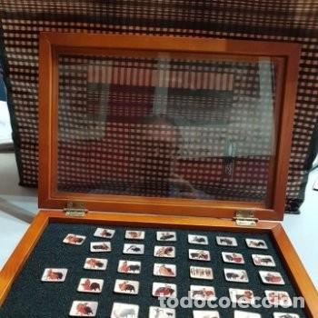 32 PIN MOTIVOS TAURINOS TOROS . ÚNICOS MONTADOS SOBRE TERCIOPELO CON TAPA DE CRISTAL (Coleccionismo - Tauromaquia)