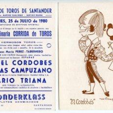 Tauromaquia: MANUEL BENÍTEZ EL CORDOBÉS TARJETA CON PROGRAMA PLAZA DE TOROS SANTANDER 1980 CARICATURA DE MORILLAS. Lote 223813902