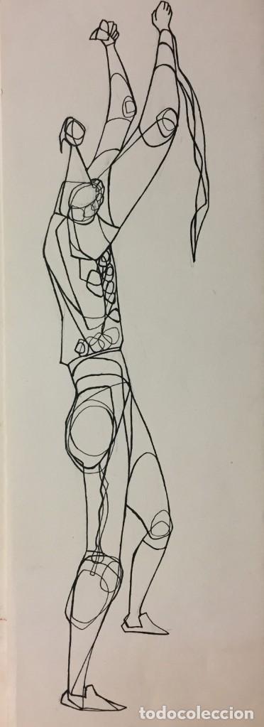 LOS TOROS. DIBUJO ORIGINAL CIRO S.ODUBER (PANAMÁ 1921- ESPAÑA 2002). MEDIDAS 42X16,5 CM (Coleccionismo - Tauromaquia)