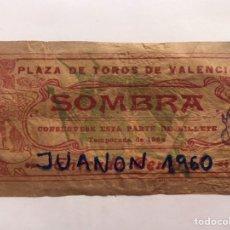 Tauromaquia: TAUROMAQUIA. ENTRADA PLAZA DE TOROS VALENCIA, SOMBRA. NOVILLADA FERIA (A.1908) LIT, ORTEGA. Lote 226845420