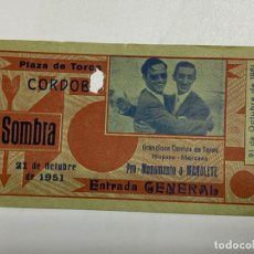 Tauromaquia: ENTRADA DE TORO. PLAZA DE TOROS DE CORDOBA. PRO-MONUMENTO A MANOLETE. OCTUBRE 1951. VER FOTOS. Lote 227191805