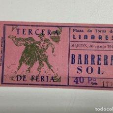 Tauromaquia: ENTRADA DE TORO. PLAZA DE TOROS DE LINARES. TERCERA DE FERIA. 1949. VER FOTOS. Lote 227192095