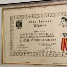 Tauromaquia: HOMENAJE DE LA PEÑA TAURINA MIGUELIN DE CEUTA COMO PRESIDENTE DE HONOR A D. JOSE ZURRON 1969. Lote 228128920