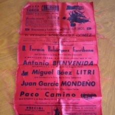 Tauromaquia: CARTEL DE TELA. PLAZA DE TOROS CARTAGENA. 10-11-1962. BIENVENIDA, LITRI, MONDEÑO.... Lote 232697505
