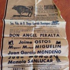 Tauromaquia: CARTEL DE TELA. PLAZA DE TOROS CARTAGENA. 23-10-1966. PERALTA, OSTOS, MIGUELIN, MONDEÑO..... Lote 232697967