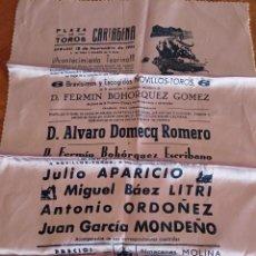 Tauromaquia: CARTEL DE TELA. PLAZA DE TOROS CARTAGENA. 18-11-1961. APARICIO, LITRI, ORDOÑEZ Y MONDEÑO..... Lote 232698160
