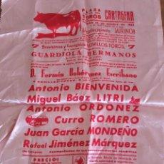 Tauromaquia: CARTEL DE TELA. PLAZA DE TOROS CARTAGENA. 12-10-1963. BIENVENIDA, LITRI, ROMERO, MONDEÑO..... Lote 232698285