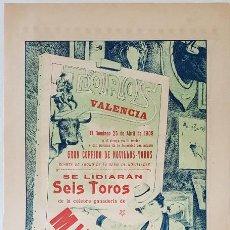 Tauromaquia: VALENCIA, 1909. PRECIOSO CARTEL DE 6 MIURAS DESECHOS DE TIENTA PARA CALERITO Y OTROS. 43X19. 2 CARAS. Lote 232946495