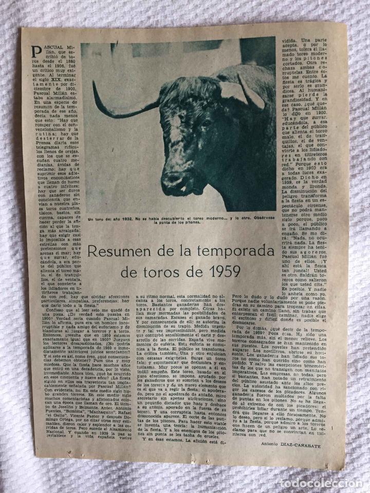 Tauromaquia: Artículos: El año taurómaco (Selipe, 1956) y Temporada de toros (Díaz Cañabate, 1959) ABC Originales - Foto 2 - 233523930