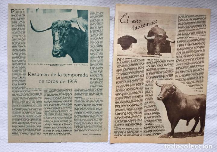 ARTÍCULOS: EL AÑO TAURÓMACO (SELIPE, 1956) Y TEMPORADA DE TOROS (DÍAZ CAÑABATE, 1959) ABC ORIGINALES (Coleccionismo - Tauromaquia)