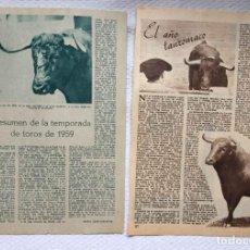 Tauromaquia: ARTÍCULOS: EL AÑO TAURÓMACO (SELIPE, 1956) Y TEMPORADA DE TOROS (DÍAZ CAÑABATE, 1959) ABC ORIGINALES. Lote 233523930