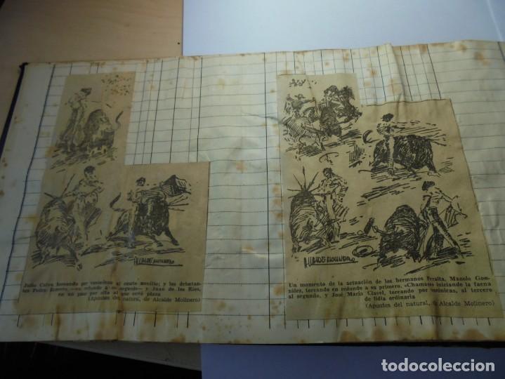 Tauromaquia: magnifico antiguo album con recortes de diarios toros y entradas - Foto 10 - 234708295