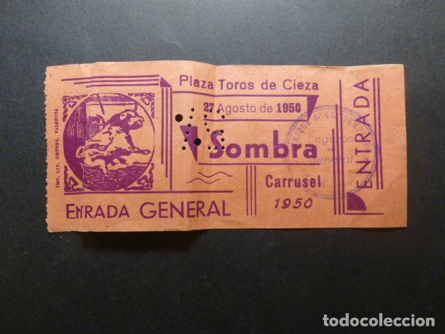 CIEZA MURCIA 1950 ENTRADA PLAZA DE TOROS SOMBRA (Coleccionismo - Tauromaquia)