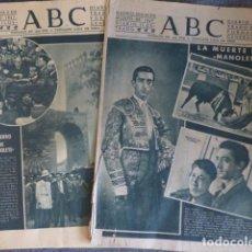 Tauromaquia: MUERTE DE MANOLETE DOS PERIODICOS ABC ORIGINALES. Lote 236160725