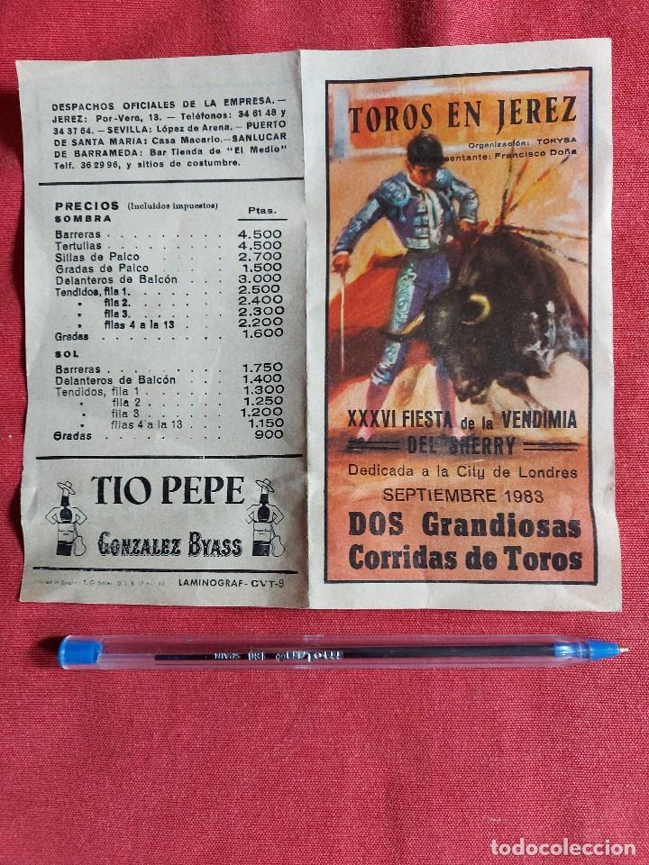 PROGRAMA * PLAZA DE TOROS JEREZ * AÑO 1983 PAULA , MUÑOZ, OJEDA ,PAQUIRRI, GALLOSO, ESPARTACO (Coleccionismo - Tauromaquia)