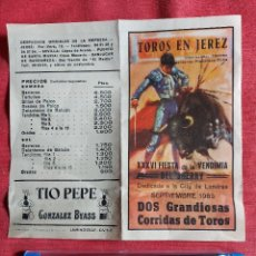 Tauromaquia: PROGRAMA * PLAZA DE TOROS JEREZ * AÑO 1983 PAULA , MUÑOZ, OJEDA ,PAQUIRRI, GALLOSO, ESPARTACO. Lote 236365455