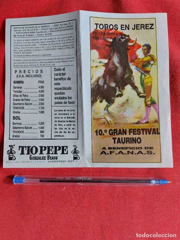 PROGRAMA * PLAZA DE TOROS JEREZ * AÑO 1988, PAULA , OJEDA ,, ESPARTACO,MANZANARES, (Coleccionismo - Tauromaquia)