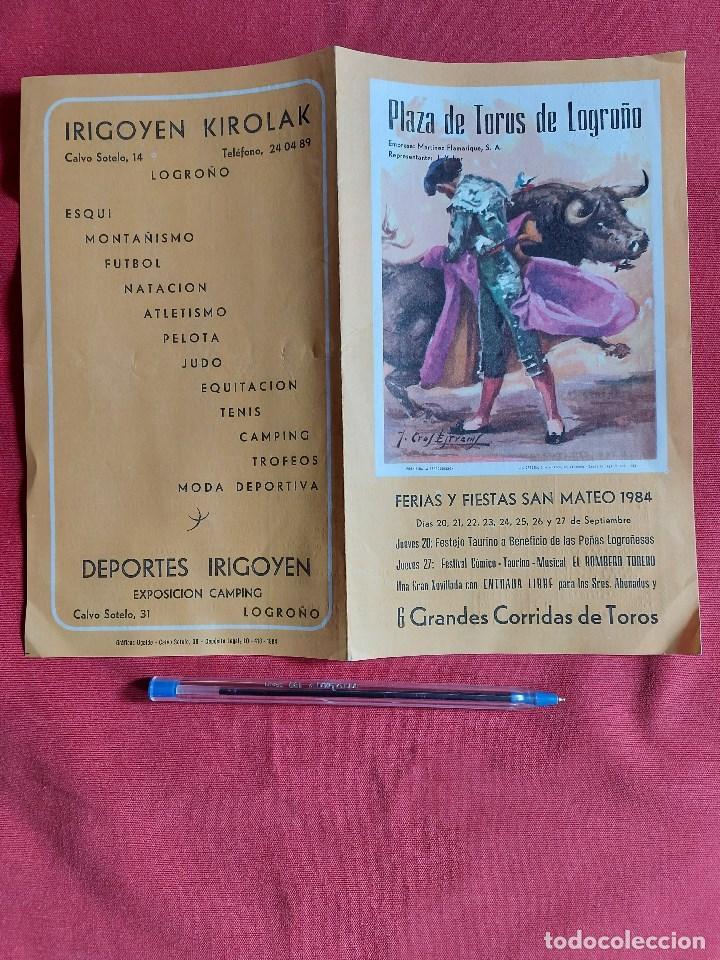 PROGRAMA PLAZA DE TOROS DEL LOGROÑO AÑO 1984 (Coleccionismo - Tauromaquia)