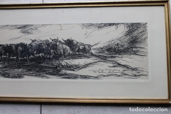 Tauromaquia: Plumilla original sobre temática taurina de Antonio Casero. Con firma y dedicatoria. - Foto 2 - 240178340
