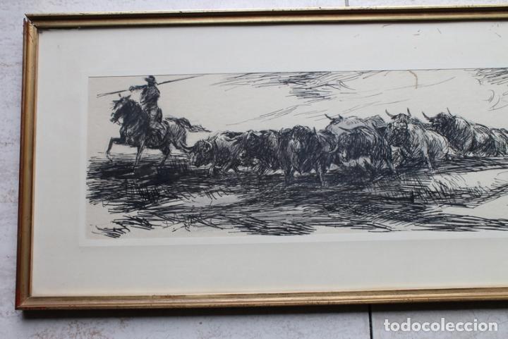 Tauromaquia: Plumilla original sobre temática taurina de Antonio Casero. Con firma y dedicatoria. - Foto 3 - 240178340