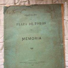 Tauromaquia: PLAZA DE TOROS LAS ARENAS BARCELONA 1892 MEMORIA PROYECTO. Lote 241443470