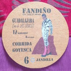 Tauromaquia: POSAVASOS-V28-II-IVAN FANDIÑO-GUADALAJARA-2017-CORRIDA GOYESCA. Lote 242152340