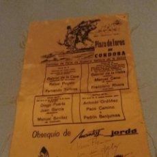 Tauromaquia: CARTEL TELA SEDA PLAZA TOROS CORDOBA AÑOS 60 EL CORDOBES FERIA. Lote 243248565