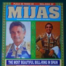 Tauromaquia: CARTEL DE TOROS TAUROMAQUIA PLAZA DE TOROS MIJAS MÁLAGA 1997. SEBASTIAN PALOMO LINARES. 26CM. 70. Lote 243491140