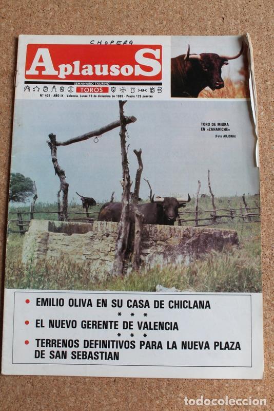 "REVISTA APLAUSOS Nº 429. 16 DICIEMBRE 1985.TORO DE MIURA EN ""ZAHARICHE"" (Coleccionismo - Tauromaquia)"